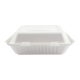 "9 x 9 x 3.19"" Large Molded Fiber Hinged Lid Container - Front View"