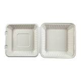 "9 x 9 x 3.19"" Large Molded Fiber Hinged Lid Container - Top View"