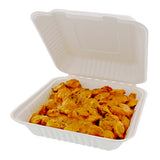 "9 x 9 x 3.19"" Large Molded Fiber Hinged Lid Containers, Case of 200"