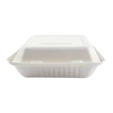 "9 x 9 x 3.19"" Large 3 Section Molded Fiber Hinged Lid Container - Front View"