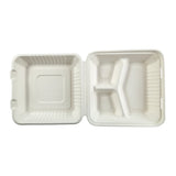"9 x 9 x 3.19"" Large 3 Section Molded Fiber Hinged Lid Container - Top View"