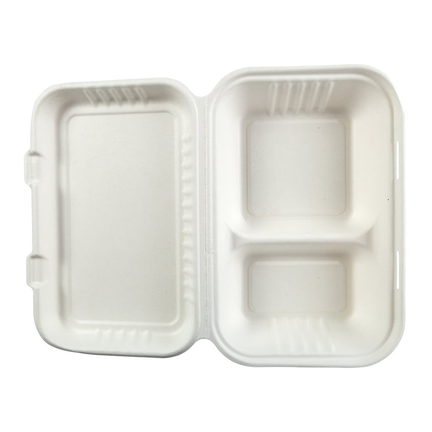 "9"" x 6"" 2 Section Molded Fiber Hinged Lid Container - Top View"