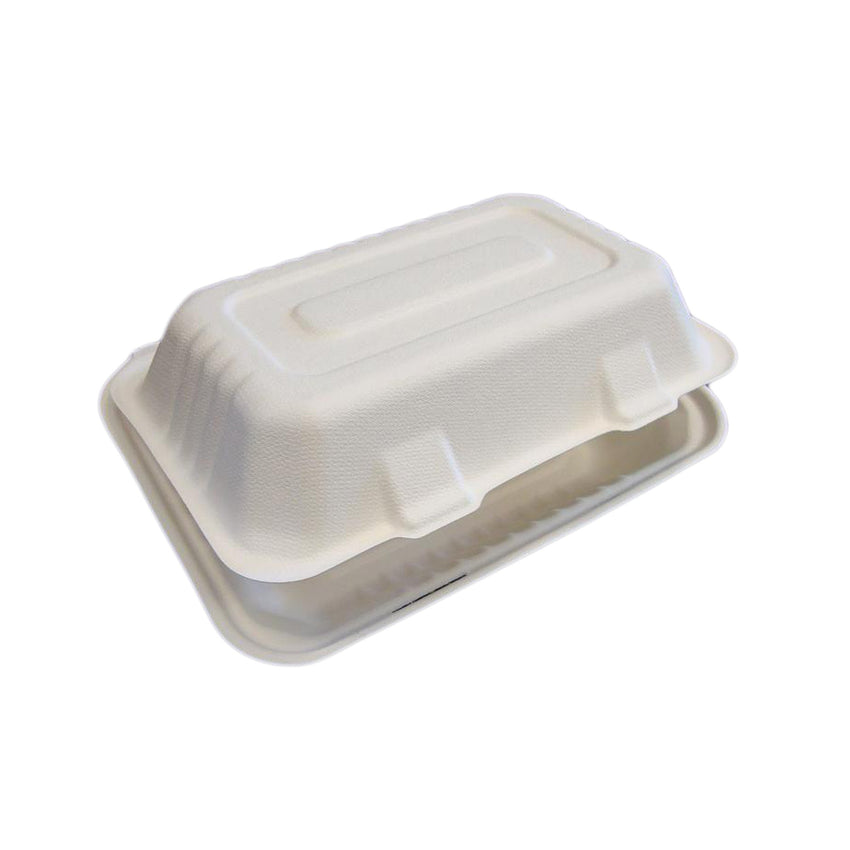 "9"" x 6"" Hoagie Molded Fiber Hinged Lid Containers"