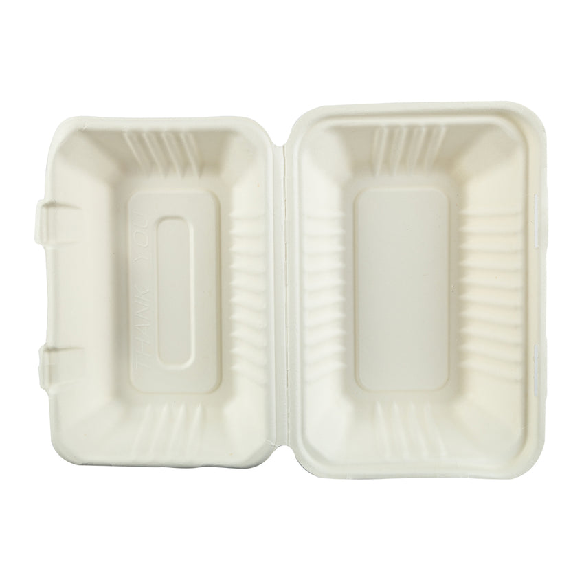 "9"" x 6"" Hoagie Molded Fiber Hinged Lid Containers, Case of 250"