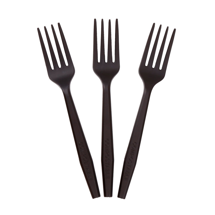 "6.5"" Wrapped Black Heavy CPLA Forks, Case of 1,000"
