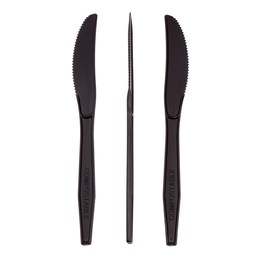 "7"" Black Heavy CPLA Knives, Case of 1,000"