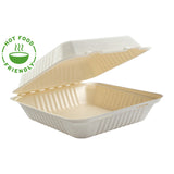 "9 x 9 x 3.19"" Large Molded Fiber Hinged Lid Containers PLA Lined, Case of 160"