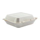 "9 x 9 x 3.19"" Large Molded Fiber Hinged Lid Container PLA Lined"