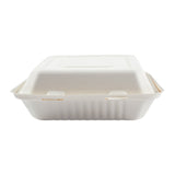 "9 x 9 x 3.19"" Large Molded Fiber Hinged Lid Container PLA Lined - Front View"