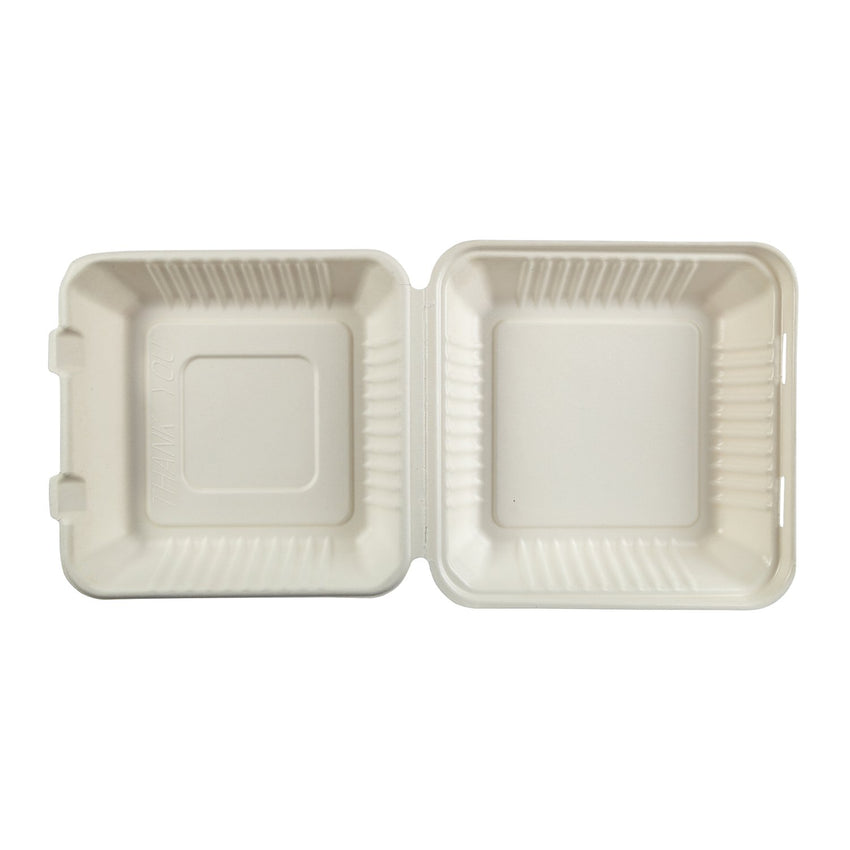 "9 x 9 x 3.19"" Large Molded Fiber Hinged Lid Container PLA Lined - Top View"