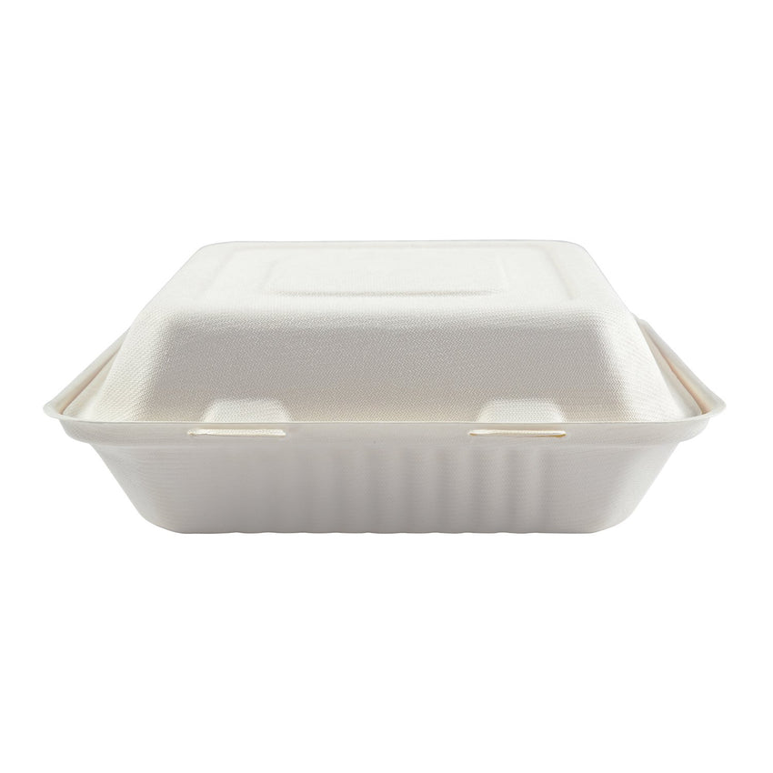 "9 x 9 x 3.19"" Large 3 Section Molded Fiber Hinged Lid Container PLA Lined - Front View"