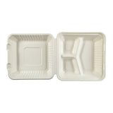 "9 x 9 x 3.19"" Large 3 Section Molded Fiber Hinged Lid Container PLA Lined - Top View"