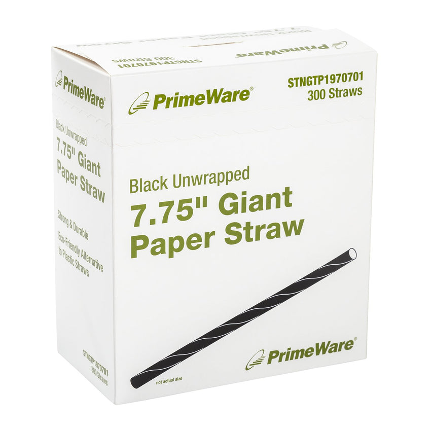 "7.75"" Black Unwrapped Giant Paper Straws, Case of 2,400"