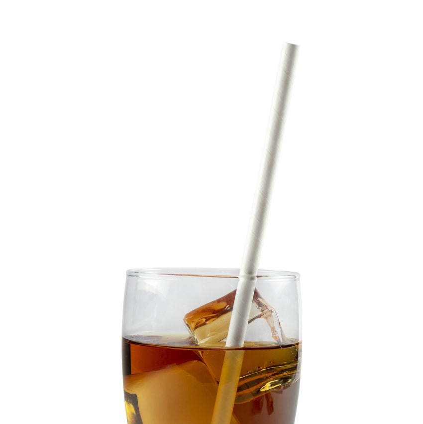 "10.25"" Giant Unwrapped White Paper Straw in Drink"