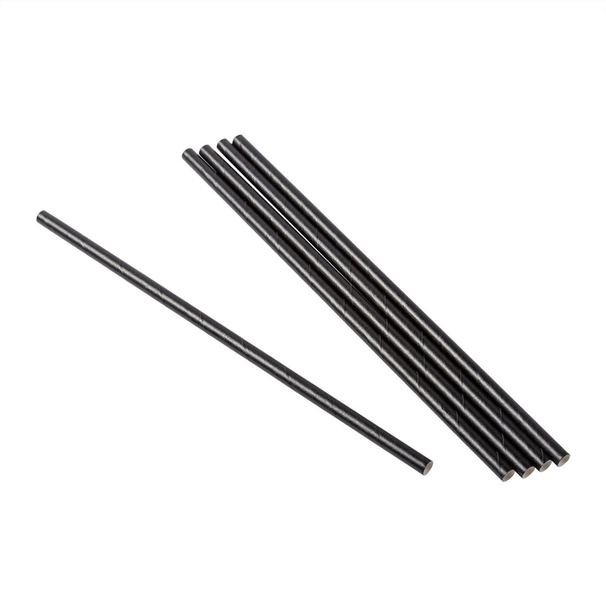 "7.75"" Wrapped Jumbo Black Paper Straw, View of Unwrapped Straw Group"