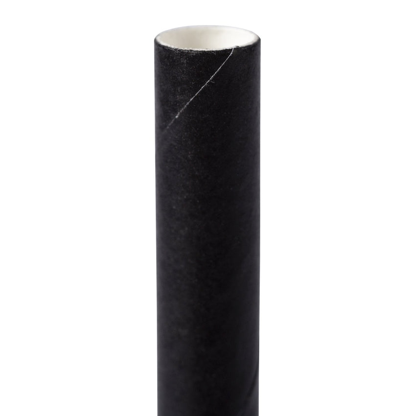 "7.75"" Jumbo Unwrapped Black Paper Straw - Close Up"