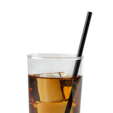 "7.75"" Wrapped Jumbo Black Paper Straw In Drink"