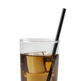 "7.75"" Jumbo Unwrapped Black Paper Straw in Drink"