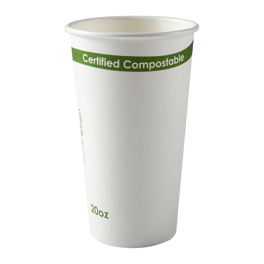 20 oz. White Compostable Cup PLA Lined, Case of 1,000