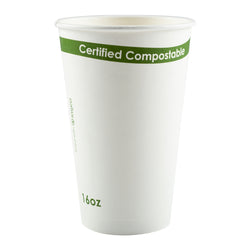 16 oz. White Compostable Cup PLA Lined, Case of 1,000