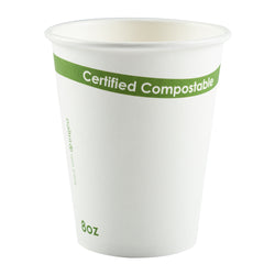 8 oz. White Compostable Cup PLA Lined, Case of 1,000