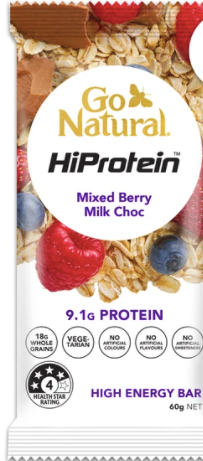 Go Natural Hiprotein Mixed Berry Milk Chocolate Bar (60g)