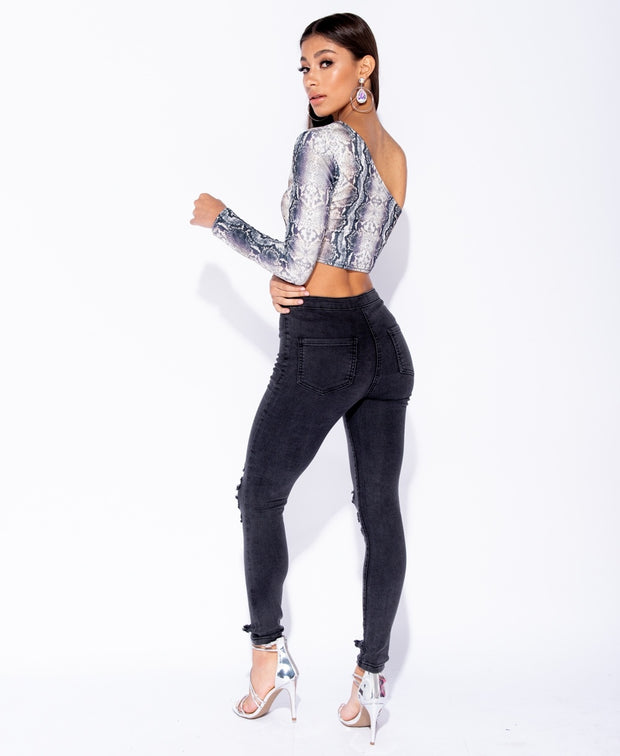 Snake Print One Shoulder Long Sleeve Crop Top - Pinq boutique