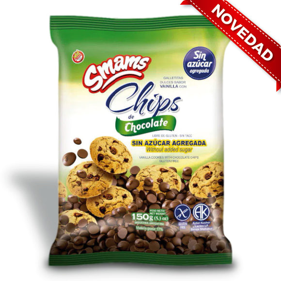 Galletas con chips de chocolate s/azucar SMAMS - 180Grs