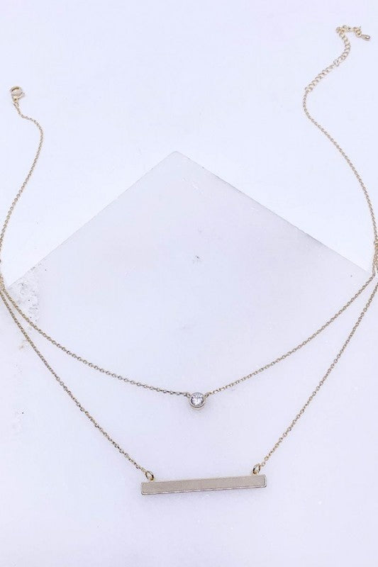 Layered bar pendant necklace silver