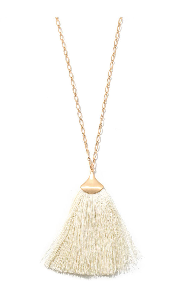 Wide Tassel Necklace - Ivory