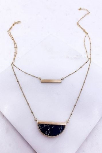 Lana black bar necklace