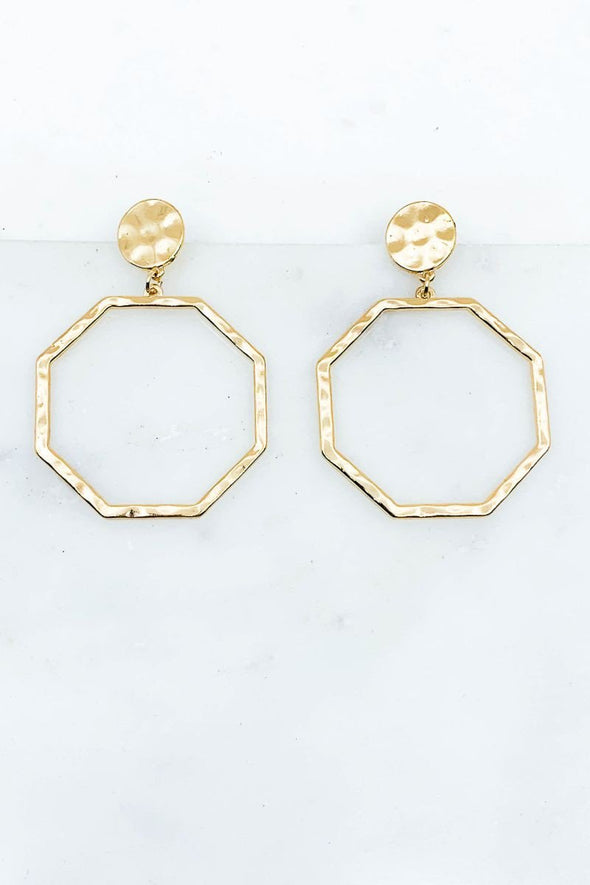 Gold Octagon Earrings