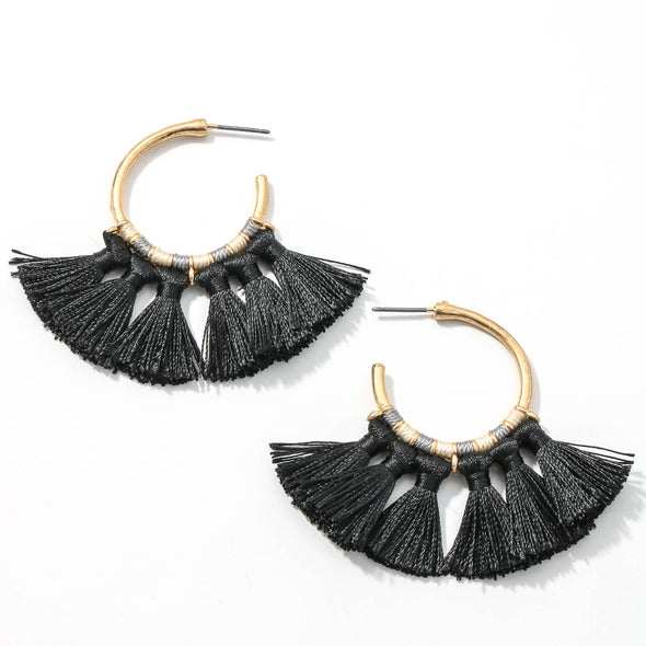 Mini Tassel Hoop Earrings - Black