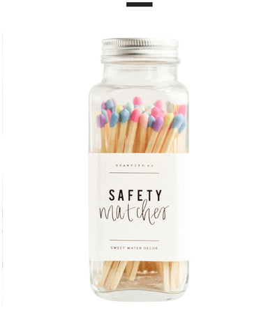Safety Matches in Glass Jar - Multi color