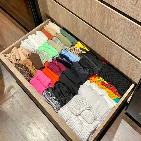 organise swimsuits in drawer