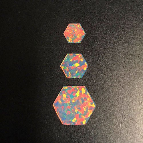 White Hexagon Coin Opals by Profound Glass