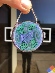 Small Biz Saturday Green Purple Pendant by Daveycakes