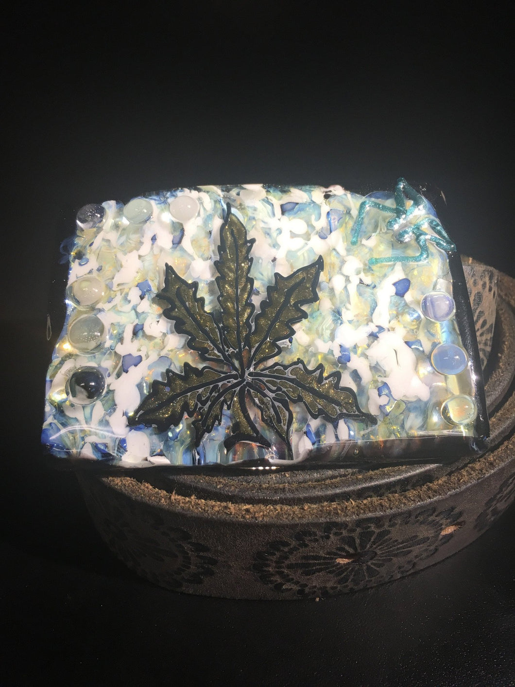 Glass Leaf Belt Buckle by Drakken