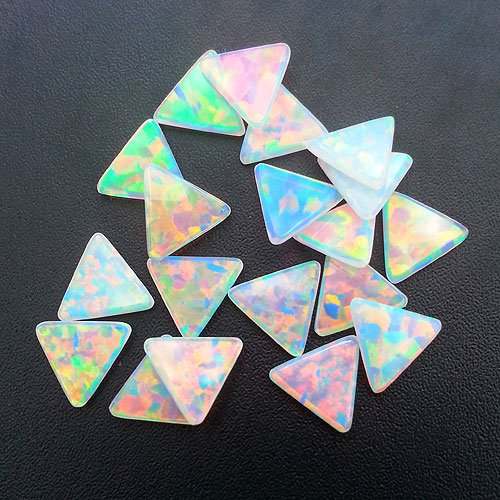 White Triangle Coin Opals by Profound Glass