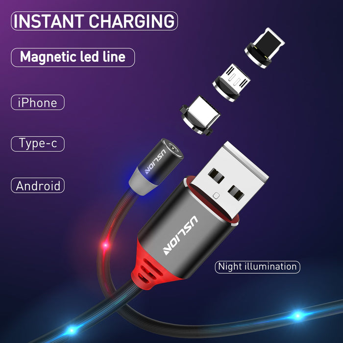 1M Flash LED Magnetic Charging Cable 2.1A - TlbatkShop | طلباتك شوب ® Official Site