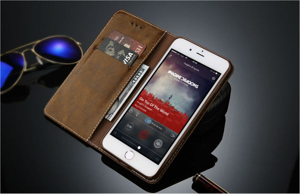 IPhone BROWN Flip Leather Case