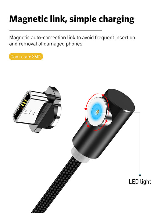 Elbow 1M blk Magnetic Charger Cable 5V 2.1A - TlbatkShop | طلباتك شوب ® Official Site