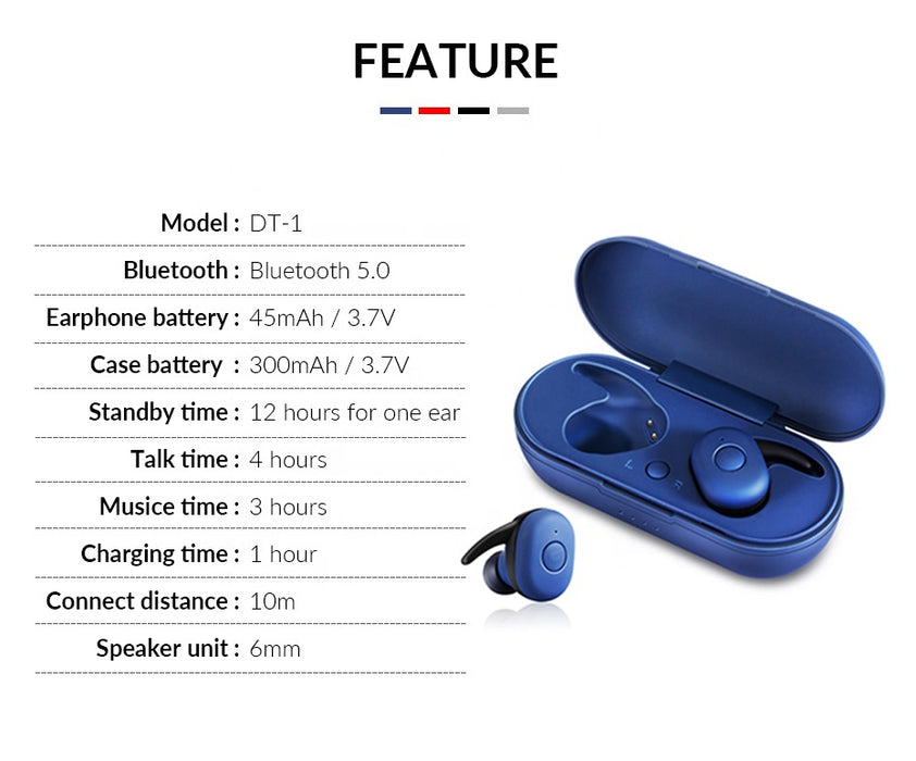 DT-1 TWS Bluetooth 5.0 Wireless Bluetooth - TlbatkShop | طلباتك شوب ® Official Site