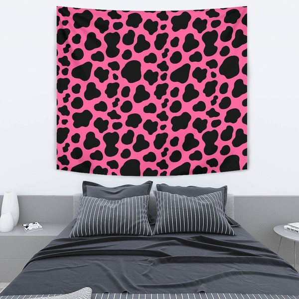Black And Hot Pink Cow Print Premium Wall Tapestry KTSR