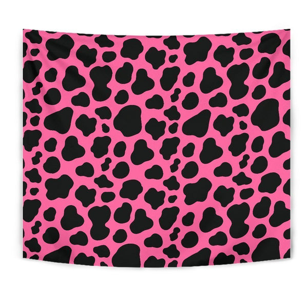 Black And Hot Pink Cow Print Wall Tapestry