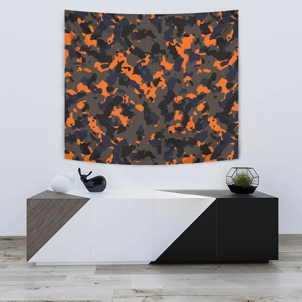 Black And Orange Camouflage Print Premium Wall Tapestry KTSR