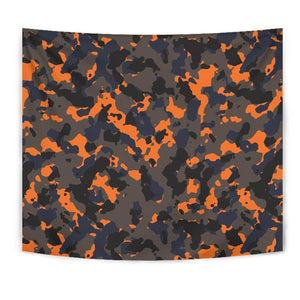 Black And Orange Camouflage Print Wall Tapestry