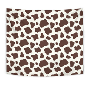 Brown And White Cow Print Wall Tapestry