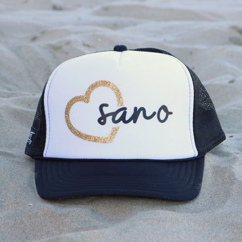 Heart San O Beach Trucker Hat - White / Black / Gold