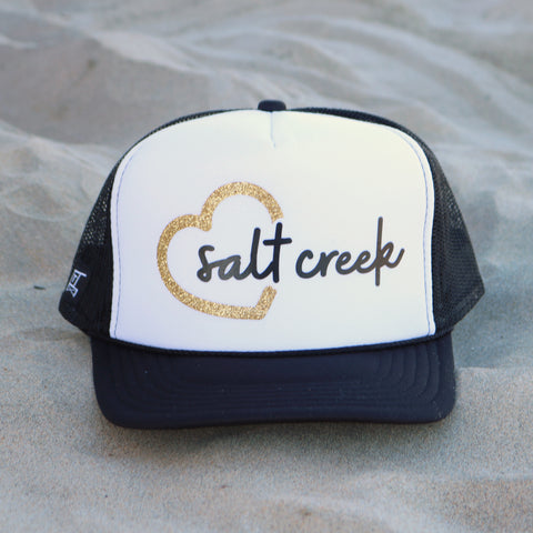 Heart Salt Creek Beach Trucker Hat - White / Black / Gold